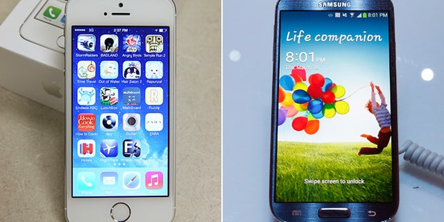 The iPhone 5C, left, and Samsung's Galaxy S4 smartphone.