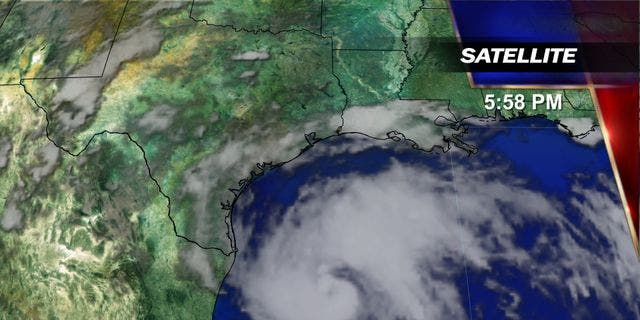 The forecast track of Hurricane Harvey.
