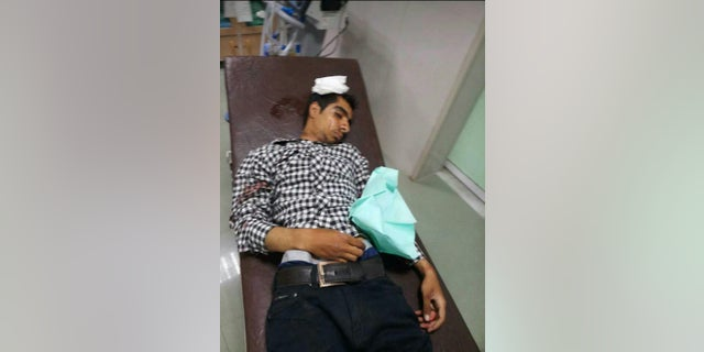 A protester who was apparently injured in in the southern Iranian city of Kazerun