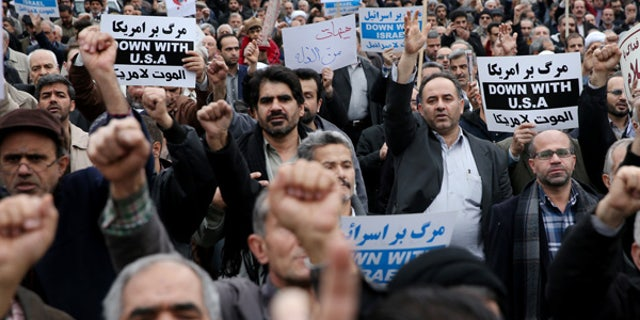 Jan. 8, 2016: Iranian worshippers attend a rally to protest the execution of Sheikh Nimr al-Nimr, a prominent opposition Saudi Shiite cleric, after their Friday prayers in Tehran, Iran.