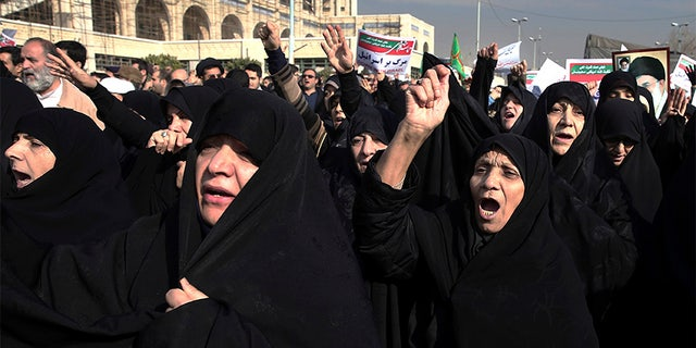 Hard-liners rallied on behalf of the Iranian government Saturday in Tehran.