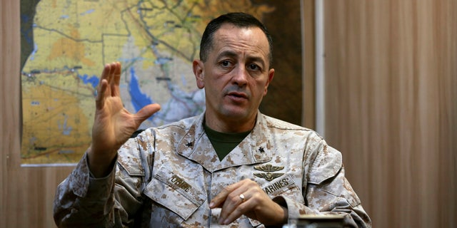 Brig. Gen. Rick Uribe speaks during an interview with The Associated Press in Irbil, 217 miles (350 kilometers) north of Baghdad, Iraq, Sunday, Jan. 1, 2017.