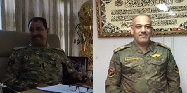 Iraqi Army Col. Thamer Mohumed Ismael, (l.), and intel chief Haitham al Malaki, (r.), expect the assault to begin next week.