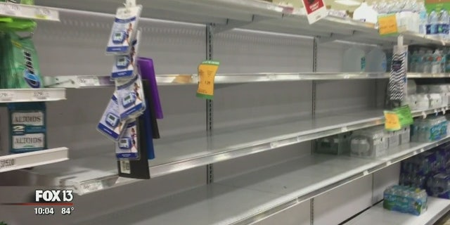 Some supermarkets in the Tampa Bay area ran low on water Monday.