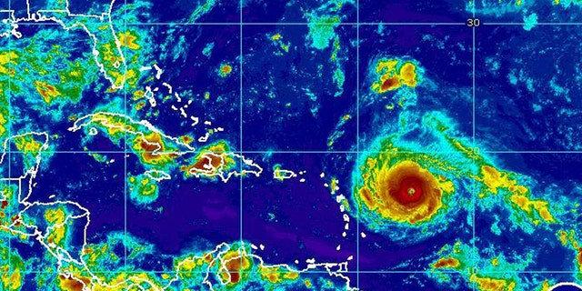 This Monday, Sept. 4, 2017, satellite image provided by the National Oceanic and Atmospheric Administration shows Hurricane Irma nearing the eastern Caribbean.
