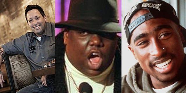 Graffito chef Mike Isabella(L), rapper Rapper Biggie Smalls (C) and rival rapper Tupac Shakur (R).