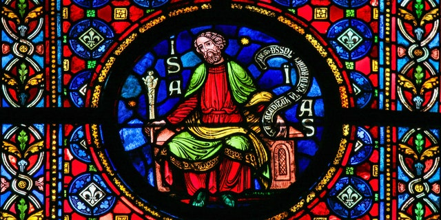 Stained glass window depicting the prophet Isaiah in the cathedral of Dinant, Belgium. (iStock)