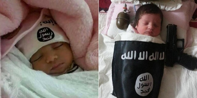 A series of tweets from Twitter accounts since suspended have shown purported ISIS babies, sleeping peacefully alongside weapons and the ominous black logo.