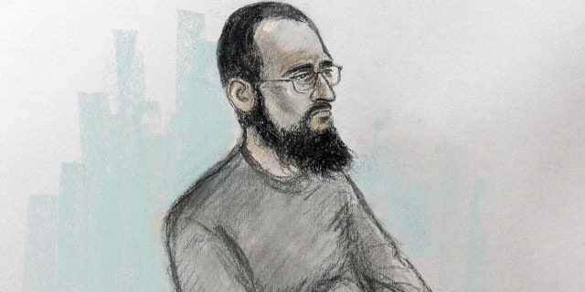 This is an undated court artist sketch file photo by Elizabeth Cook showing Husnain Rashid during his trial.