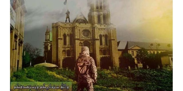 Recent ISIS propaganda shows flag-bearing ISIS fighter signalling fellow jihadist from atop European Christian church.