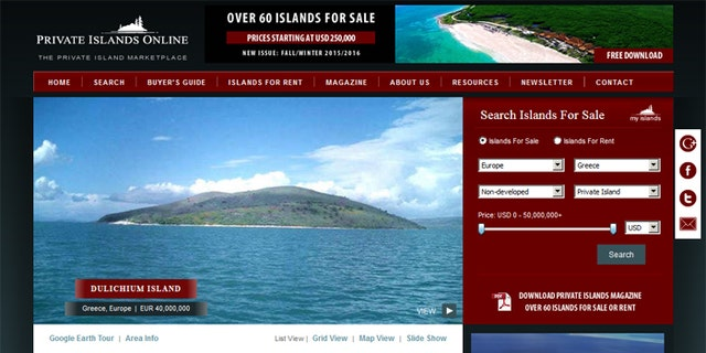 Dulichium Island is currently being sold for around $43 million. The 1,335-acre island has 4,000 olive trees, according to a real estate listing.