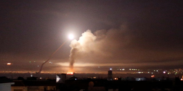 Missile fire is seen from Damascus, Syria, May 10, 2018.