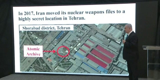 Israeli Prime Minister Benjamin Netanyahu shows where Iran may have moved its nuclear weapons files to a location in Tehran after signing the nuclear deal.