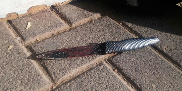 The knife that was allegedly used to attack an Israeli security guard on Sunday, Dec. 10, 2017.