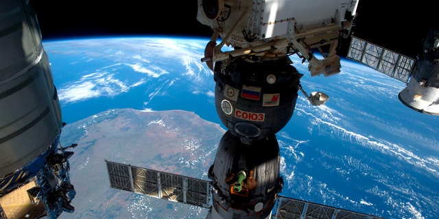 A NASA image shows the International Space Station as it flew over Madagascar, showing three of the five spacecraft docked to the station in this photo taken by the Expedition 47 Flight Engineer Tim Peake of ESA on April 6, 2016 and released on April 8, 2016. (REUTERS/Tim Peake/ESA/NASA/Handout via Reuters)