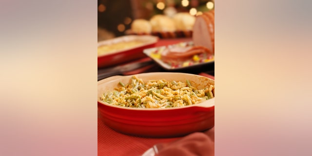 """""""Green Bean Casserole with Crispy Onions, Glazed Ham, Scalloped Potatoes and Biscuits  -Photographed on Hasselblad H3D2-39mb Camera"""""""
