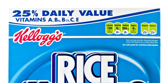 Chico, California, USA - March 11, 2011 : Front view of a 12 OZ blue cardboard box of Kellog's Rice Krispies. Kellog's is headquartered in Battle Creek Michigan, they sell their cereals and convenience foods in over 180 countries around the world.