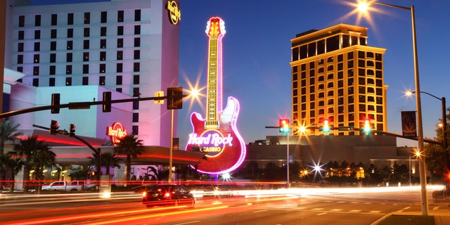 Biloxi, Mississippi, USA - April 6, 2012: Nighttime view of the Biloxi strip including the Hard Rock and Beau Rivage casinos