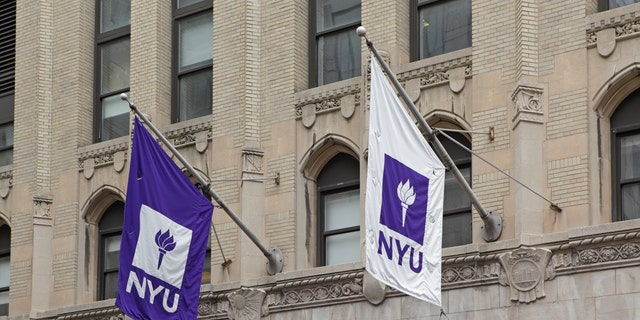 NYU banners hang in the breeze.