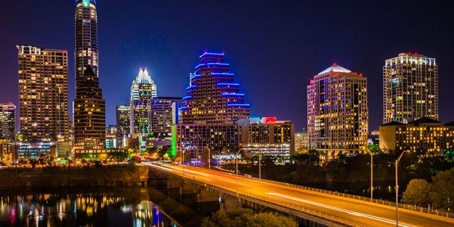 Austin TX cityscape. Skyscrapers and Congress Avenue.