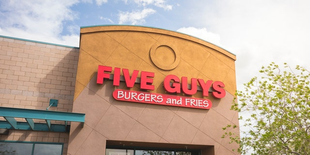 Las Vegas, USA - March 28, 2016: An editorial stock photo of the Five Guys Burgers and Fries fast food restaurant in Las Vegas. Five Guys is a restaurant chain focused on hamburgers, hot dogs, and French fries,