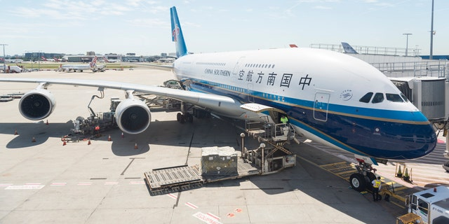 Sydney, Australia - November 18, 2015: An A380 aircraft of China Southern Airlines is taxied and waiting to depart in Sydney Airport. A380 is one of the biggest passenger airplanes in the world whereas China Southern is the Airline with the biggest yearly passenger capacity.