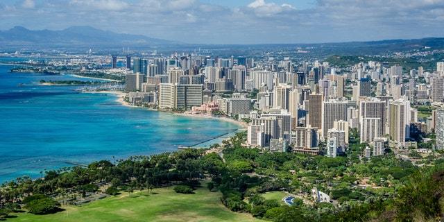 The Waikiki neighborhood in Honolulu, Hawaii