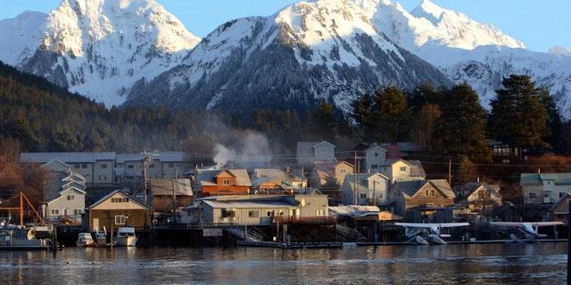 The city of Sitka, Alaska at dawn.