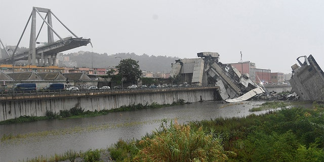 At least 30 cars and three heavy vehicles were on the portion of the bridge when it crumbled, Civil Protection authorities said.