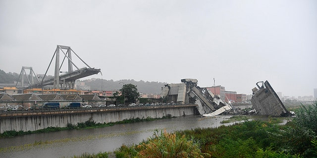 A view of the collapsed Morandi highway bridge in Genoa.