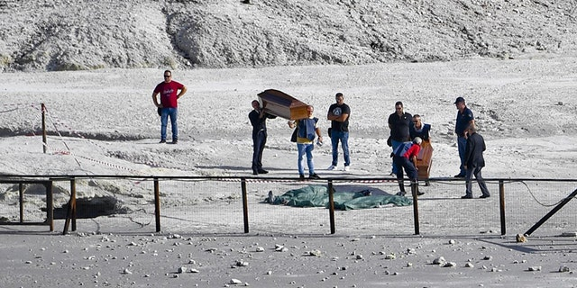 Firefighters pulled the bodies out of the Solfatara Crater in Pozzuoli, near Naples