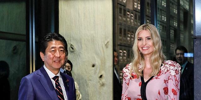 Ivanka Trump with Japanese Prime Minister Shinzo Abe in Toykyo, Japan on Nov. 3, 2017.