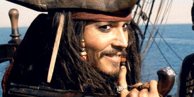 "Johnny Depp as Captain Jack Sparrow in ""Pirates of the Caribbean."""