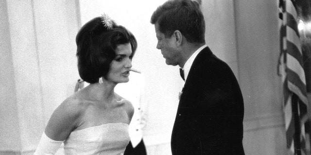 United States President John F. Kennedy and initial lady Jackie Kennedy attend a cooking in respect of Andre Malraux, apportion of state for informative affairs of France, in Washington, in this welfare picture taken on May 11, 1962.