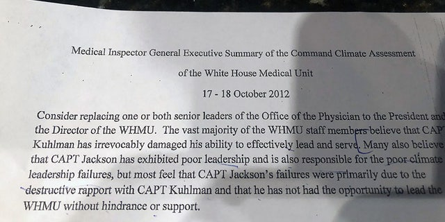 The Navy's Medical Inspector General report recommended that one or both of Jackson or Dr. Jeffrey Kuhlman be replaced.