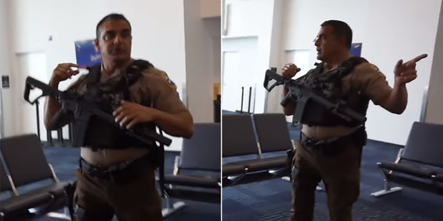 In Jackson's vlog post, an armed officer with the Miami-Dade Police can be seen asking the family to wait outside.
