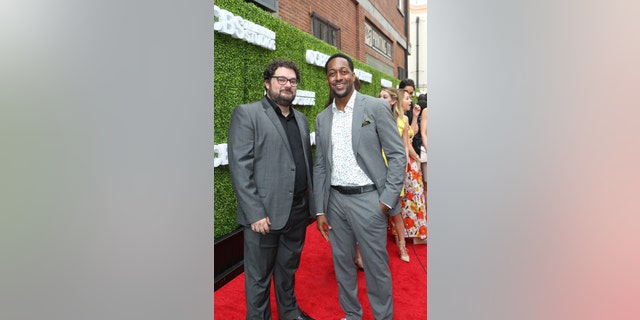 (L-R): Bobby Moynihan and Jaleel White of ME, MYSELF & I pose for a photograph at the CBS Summer Soirée, held on August 1, 2017 in Los Angeles, CA.    Photo: Sonja Flemming/CBS  ©2017 Broadcasting Inc. All Rights Reserved
