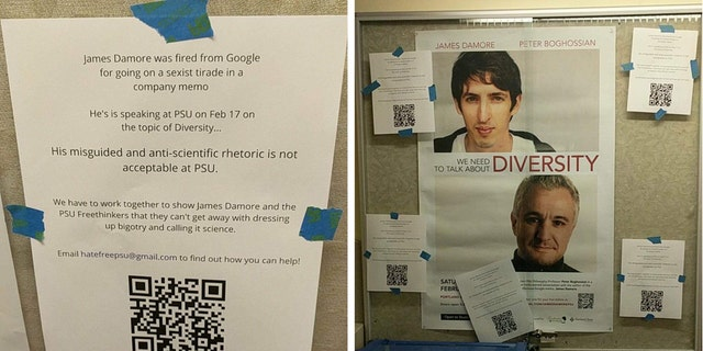 "Protest flyers for the James Damore event, saying: ""We have to work together to show James Damore and the PSU Freethinkers that they can't get away with dressing up bigotry and calling it science."""