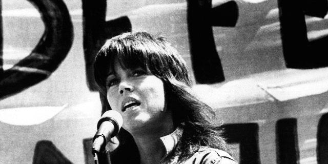 Jane Fonda speaking at an anti-war rally in San Francisco, 1972.