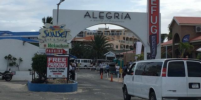 Alegria hotel main entrance near the famous Maho Beach where jets land at SXM.