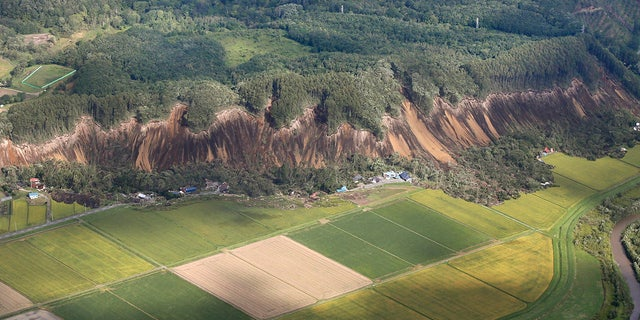 The site of a landslide after an earthquake in Atsuma town, Hokkaido, northern Japan, Thursday.