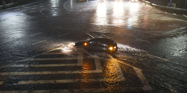 Flooded roads in Nagoya, Japan.
