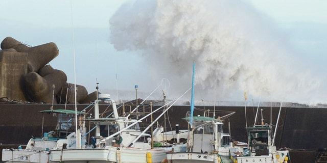 Sept. 30, 2012: High waves hit a breakwater in Kihocho, Mie prefecture, western Japan.
