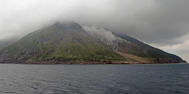 The volcanic islands of Take-shima and Satsuma Iwo-jima (shown here) are the subaerial parts of the northern rim of the Kikai caldera. Credit: The Yomiuri Shimbun/AP