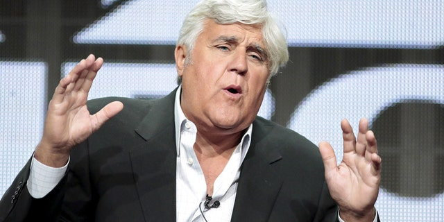 """Television personality Jay Leno participates in the NBCUniversal """"Jay Leno's Garage"""" panel at the Television Critics Association (TCA) Summer 2015 Press Tour in Beverly Hills, California August 13, 2015."""
