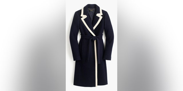 Markle's two-tone J.Crew navy coat quickly sold out.