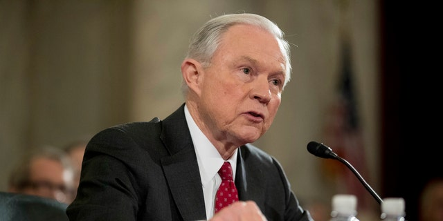 Attorney General Jeff Sessions testifies on Capitol Hill in Washington at his confirmation hearing before the Senate Judiciary Committee.