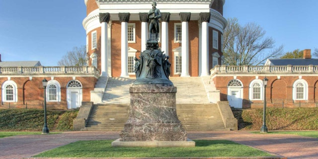 The monument to Thomas Jefferson, UVA founder and U.S. Founding Father, outside the rotunda at the University of Virginia.