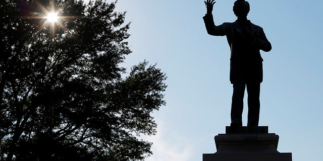 A statue of Jefferson Davis, President of the Confederate States, stands in Memphis Park, formerly named Confederate Park, in Memphis, Tennessee.