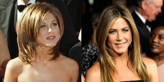 """It seems that every time we see a photo of this former """"Friend,"""" she's looking better and better. Granted, the """"Rachel"""" hairdo was cool back in the '90s, but we prefer Jen's current toned-down tresses much better. She also looks as fit as ever, and the 43-year-old credits yoga and consistent exercise for her enviable body."""